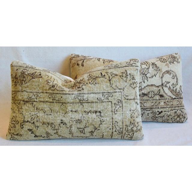 "Antique Soumak Carpet Wool Feather/Down Pillows 26"" X 16"" - Pair For Sale - Image 12 of 13"