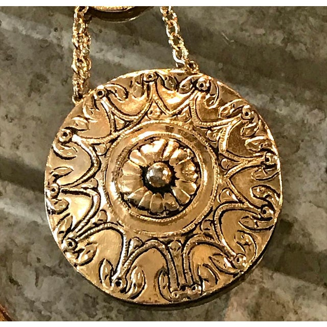 Striking Accessocraft NYC large necklace with two medallion pendants. This is a great example of the Accessocraft...