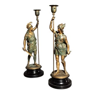 Pair of Late 19th Century Metal Roman Soldier Candlesticks For Sale