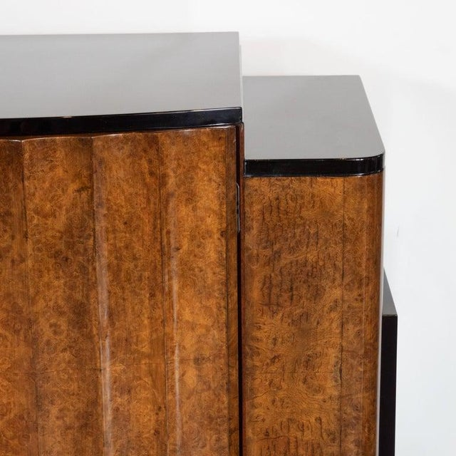 English Art Deco Streamlined Black Lacquer and Burled Carpathian Elm Cabinet For Sale - Image 4 of 10
