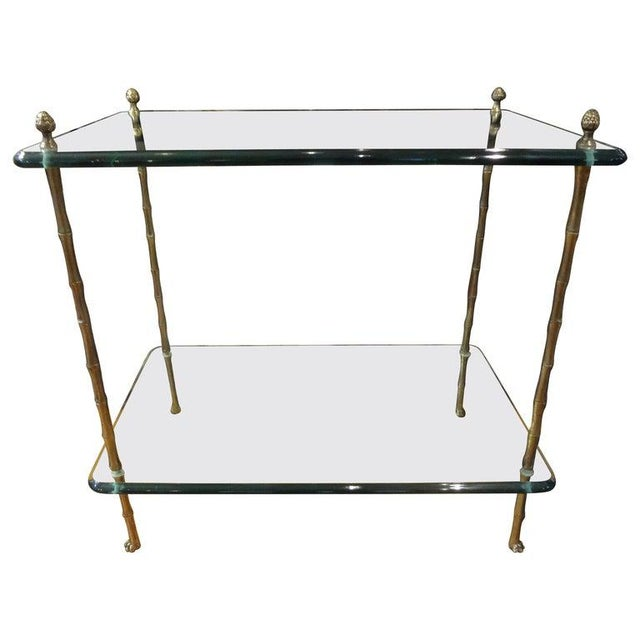 Italian Bronze and Glass Two Tiered Table For Sale - Image 12 of 12