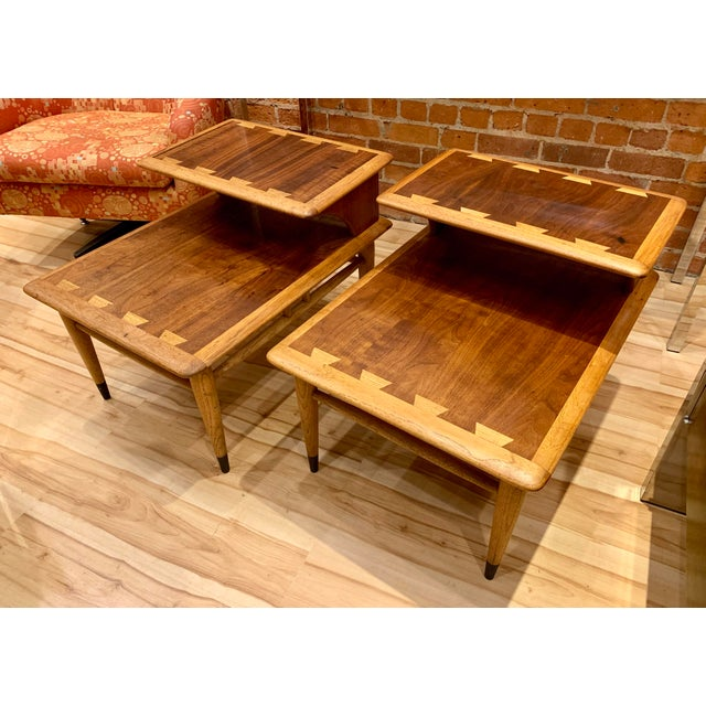 1960s Mid-Century Modern Walnut and Oak Lane Acclaim Step Tables - a Pair For Sale - Image 13 of 13