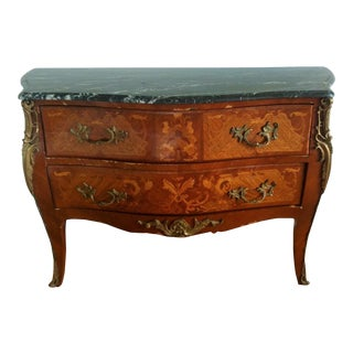 1970s Louis XV Bronze & Marble Commode For Sale