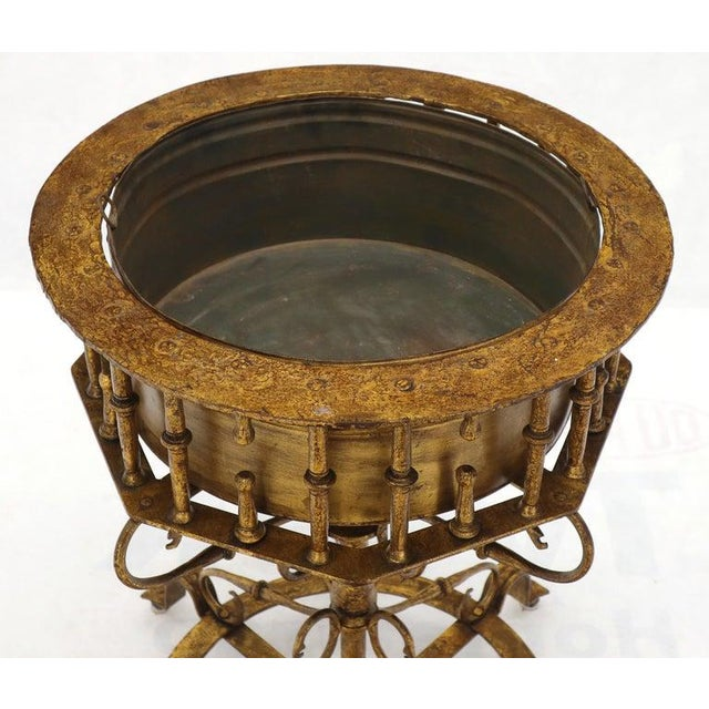 Large Italian Wrought Iron Gold Gilt Planter For Sale - Image 11 of 13