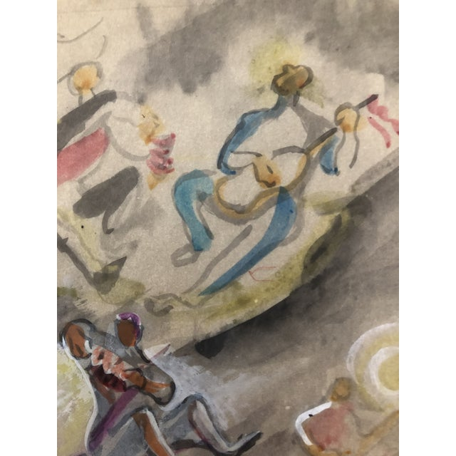 """Watercolor of musicians playing instruments, probably a portion of a mural or painting called """"Singing to the Moon.""""..."""