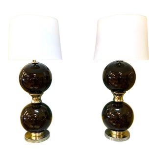 Pair, Mid Century Brown Glass Globe Lamps For Sale