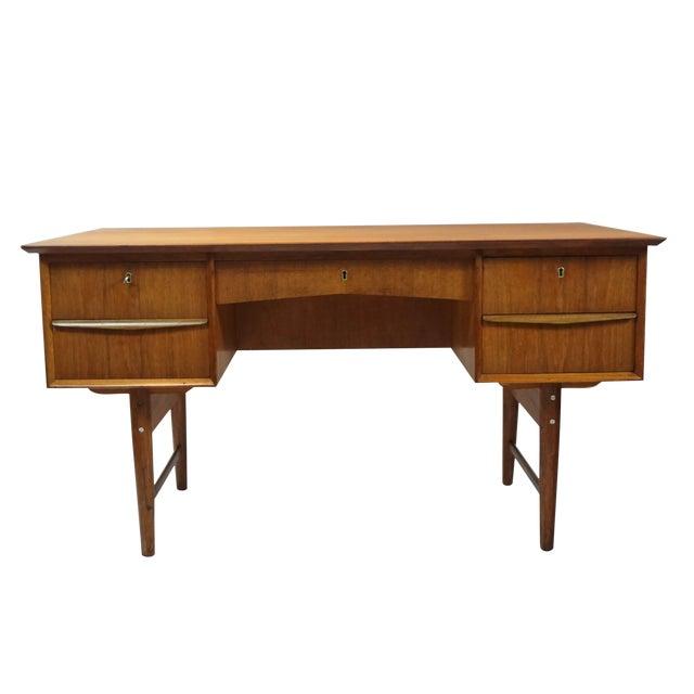 Danish Modern Dual Sided 5 Drawer Desk - Image 1 of 8