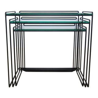 Max Sauze Isocele Iron + Glass Nesting Tables for Atrow - Set of 3 For Sale