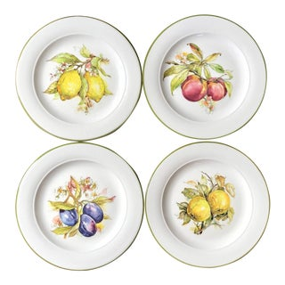 Lillian Vernon Italian Pottery Fruit Plates - Set of 4 For Sale