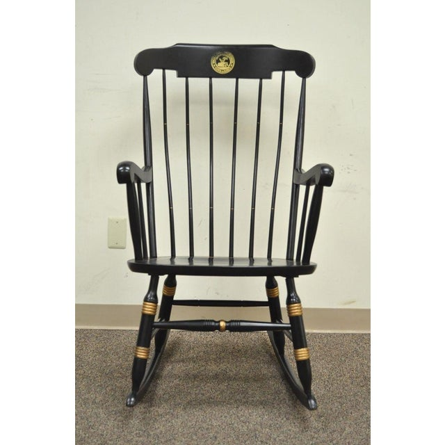 Item: Lovely Vintage Sigill Univeristy Alumni Windsor Rocking Chair made by Nichols & Stone. The chairs has a black and...