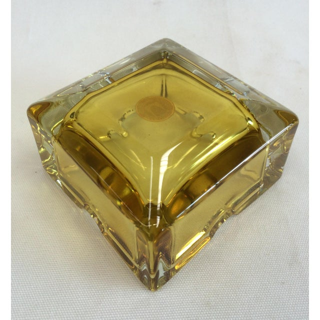 Vintage West German Yellow Art Glass Ashtray - Image 5 of 6