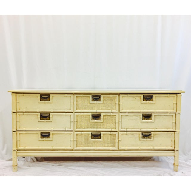 Campaign Vintage Faux Bamboo Dresser For Sale - Image 3 of 10