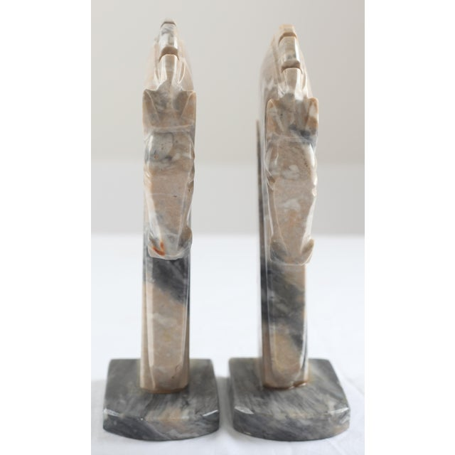 Mid-Century Onyx Horse Head Bookends - Pair - Image 6 of 7