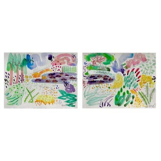 Garden Pond Set of Two Watercolor Paintings For Sale