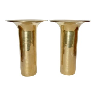 Pair Vintage Solid Brass Vases