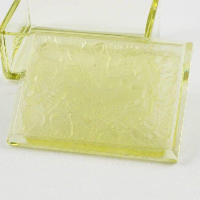 Bohemian Art Deco Vaseline Czech Glass Ashtray & Box - Image 5 of 11