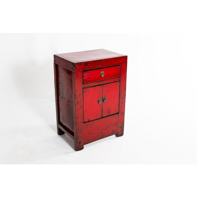 Chinese Red Lacquer Cabinet With a Drawer and Pair of Doors For Sale - Image 9 of 11