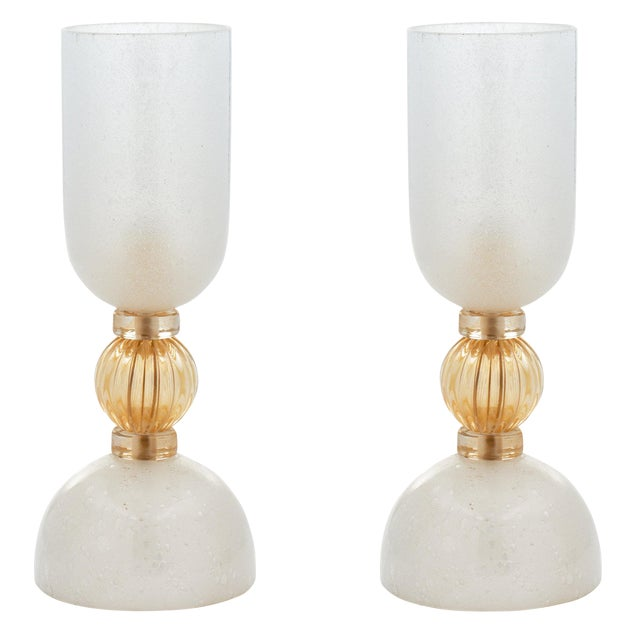 Murano Glass Opaline Urn Lamps For Sale