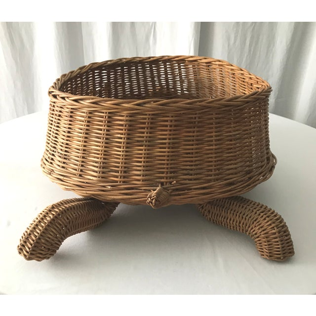 Mario Lopez Torres Mid Century Mario Torres Lopez Style Chinoiserie Large Wicker Turtle Basket Planter For Sale - Image 4 of 7
