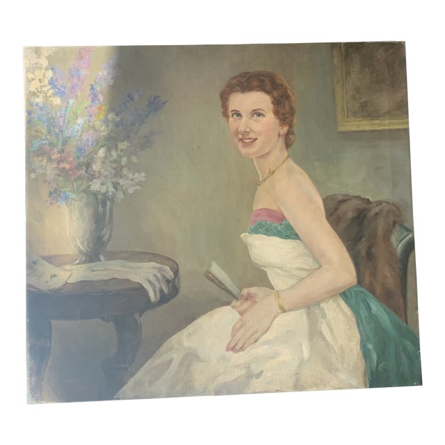 1940s Portrait of a Lady Oil Painting For Sale