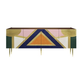 Handmade 'Yucatan' High Gloss Lacquered Wood and Brass Sideboard For Sale