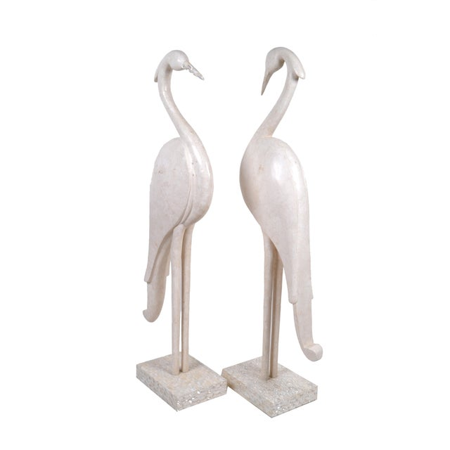 Two Marquis Collection of Beverly Hills Birds White Ivory Stone and Fossil Stone For Sale - Image 10 of 10