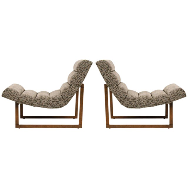 Pair of Mid Century Modern Scoop Lounge Chairs by Milo Baughman For Sale - Image 9 of 12