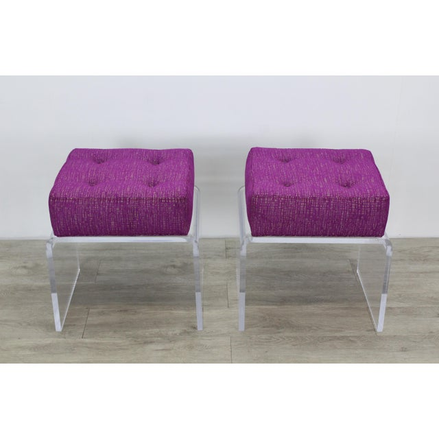 Pair of Waterfall Acrylic & Chenille Benches For Sale - Image 4 of 6