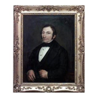 American Victorian gilt framed oil painting portrait of 19th Century man with stick pin and white shirt