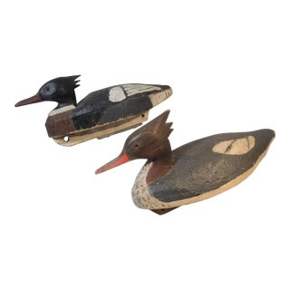 Early 20th Century Vintage Merganser Hand-Carved and Painted Decoys - a Pair For Sale