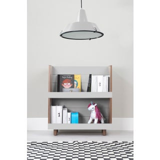 "Minimo Modern Kids 31"" Bookcase in Walnut With Gray Finish Preview"