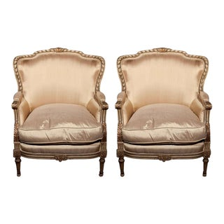 French Louis XVI Style Bergère Chairs - A Pair For Sale