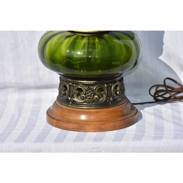 Hollywood Regency Hollywood Regency Mode Green Murano Glass Lamp For Sale - Image 3 of 10