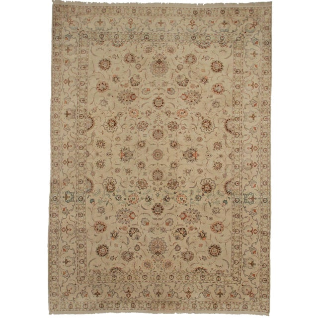 Hand Knotted Persian Kashan Rug - 9′1″ × 13′ For Sale