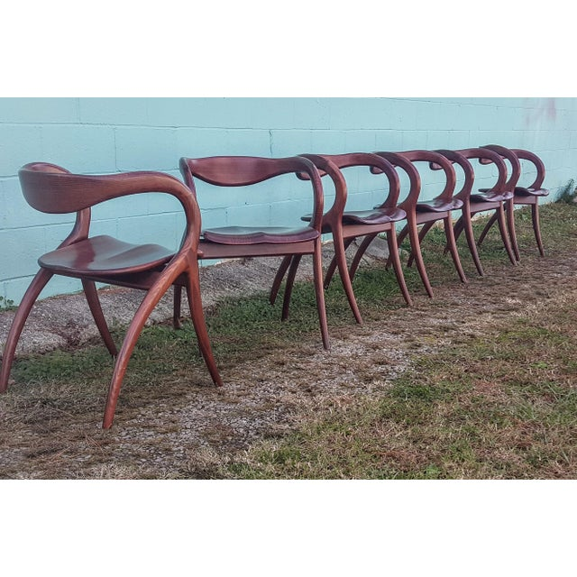 Vintage Solid Curved Cherry Wood Dining Chairs - Set of 6 For Sale - Image 4 of 9