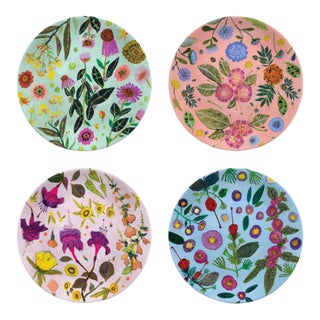 Kenneth Ludwig Chicago Wildflowers Plates - Set of 4 For Sale