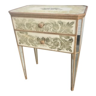 Eglomise Painted Mirror Night Stand, 1940s