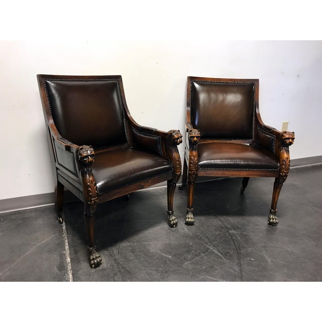 Theodore Alexander Leather Lion Head Chairs - A Pair - Image 4 of 11