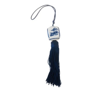 Chinoiserie Blue and Whited Beaded Key Tassel For Sale