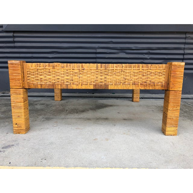 Vintage Wrapped Rattan Billy Baldwin Style Coffee Table For Sale - Image 4 of 13