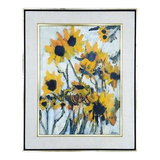Vintage Original Elva Levy Framed & Signed Sunflower Painting For Sale