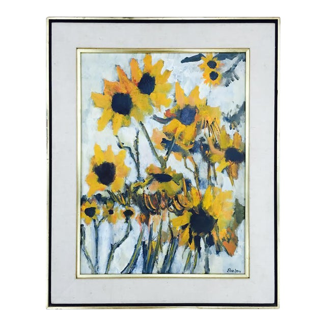 Vintage Original Elva Levy Framed & Signed Sunflower Painting For Sale