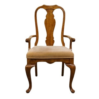 Late 20th Century Vintage Bernhardt Solid Pecan Queen Anne Arm Dining Chair For Sale