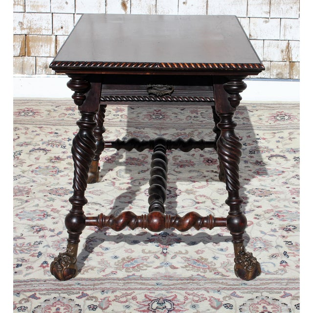 Mid 19th Century Merklin Barley Twist Leg Mahogany Library Table For Sale - Image 5 of 13