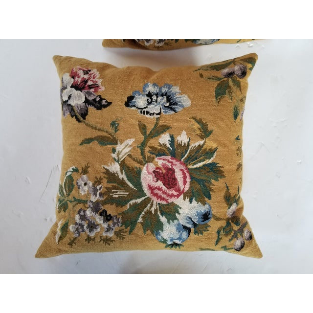 Vintage Needlepoint Floral Pillows - a Pair For Sale - Image 9 of 11