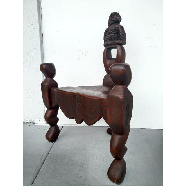 Tribal 1970's Hand-Carved Artistic 3-Legged Chair, With Eagle Bust For Sale - Image 3 of 13