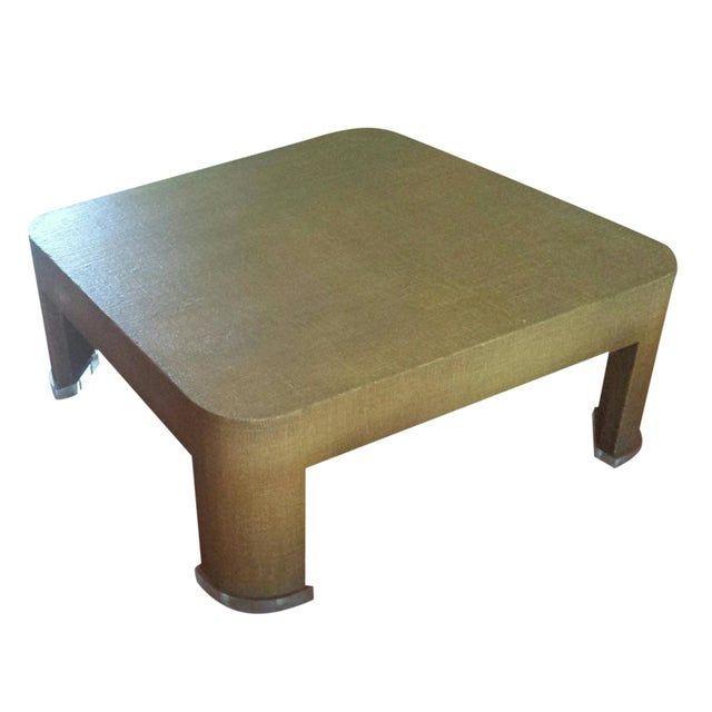 Square Grasscloth Coffee Table After Karl Springer - Image 1 of 10