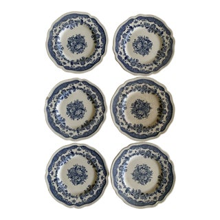 Johnson Brothers Persian Tulip Blue Bread Plates - Set of 6 For Sale