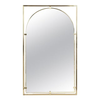 Arched Brass Framed Mirror in Open Rectangular Frame For Sale