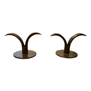 Mid-Century Modern Tulip Brass Candle Holders - A Pair